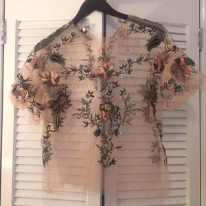 Sheer embroidered floral top